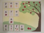 Apple tree and vintage flash card nursery art.