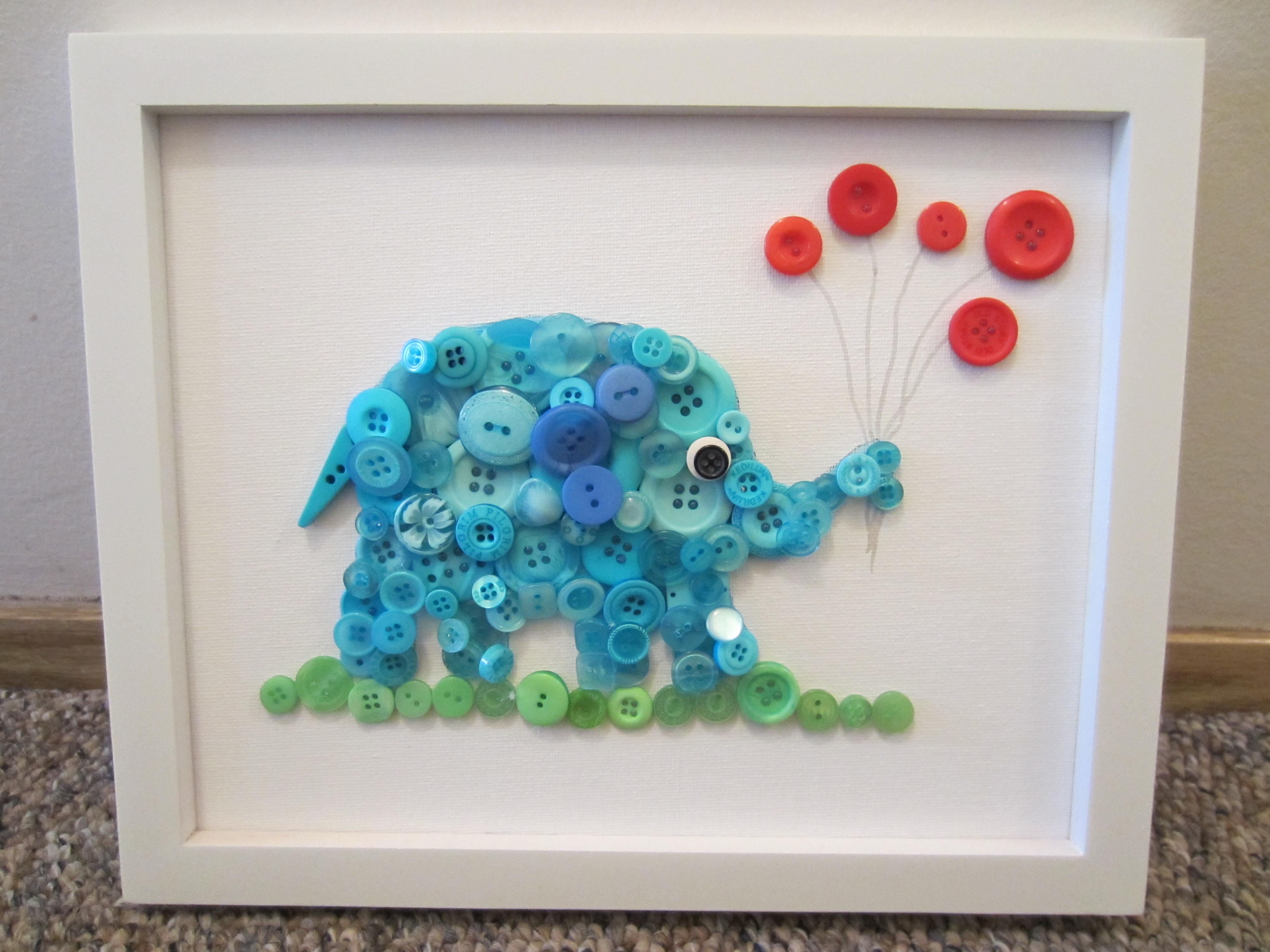 Elephant Button Art