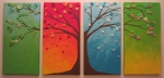 "The Four Seasons in button trees. On 7x14"" canvases."