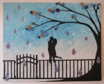 """Dancing in the Rain"" My rendition of a verrry special moment that a secret someone commissioned me to paint :)"
