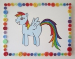 Bday present for a Rainbow Dash fan. Buttons made the perfect border!