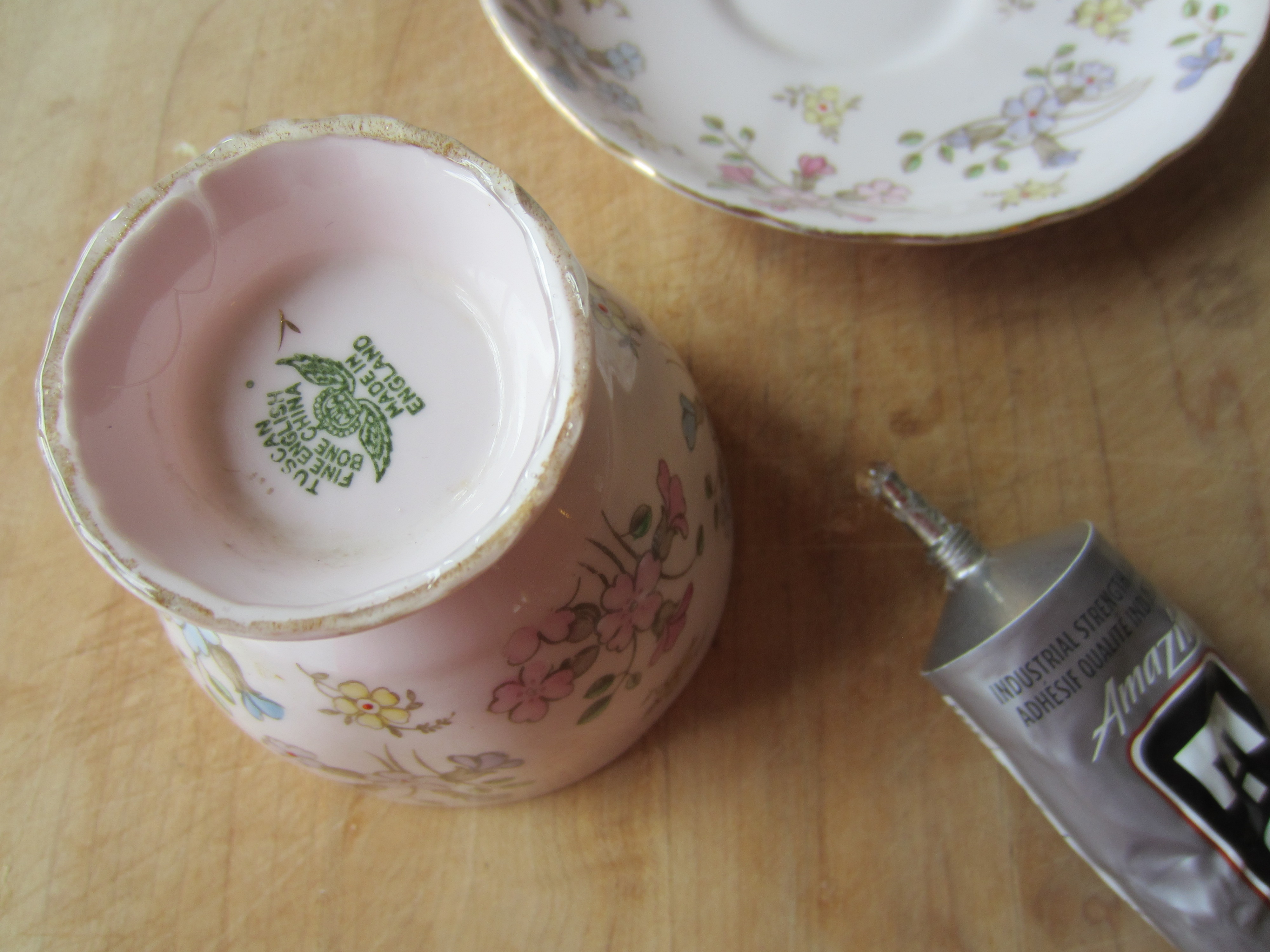 Hanging Tea Cup Bird Feeder Busted Button