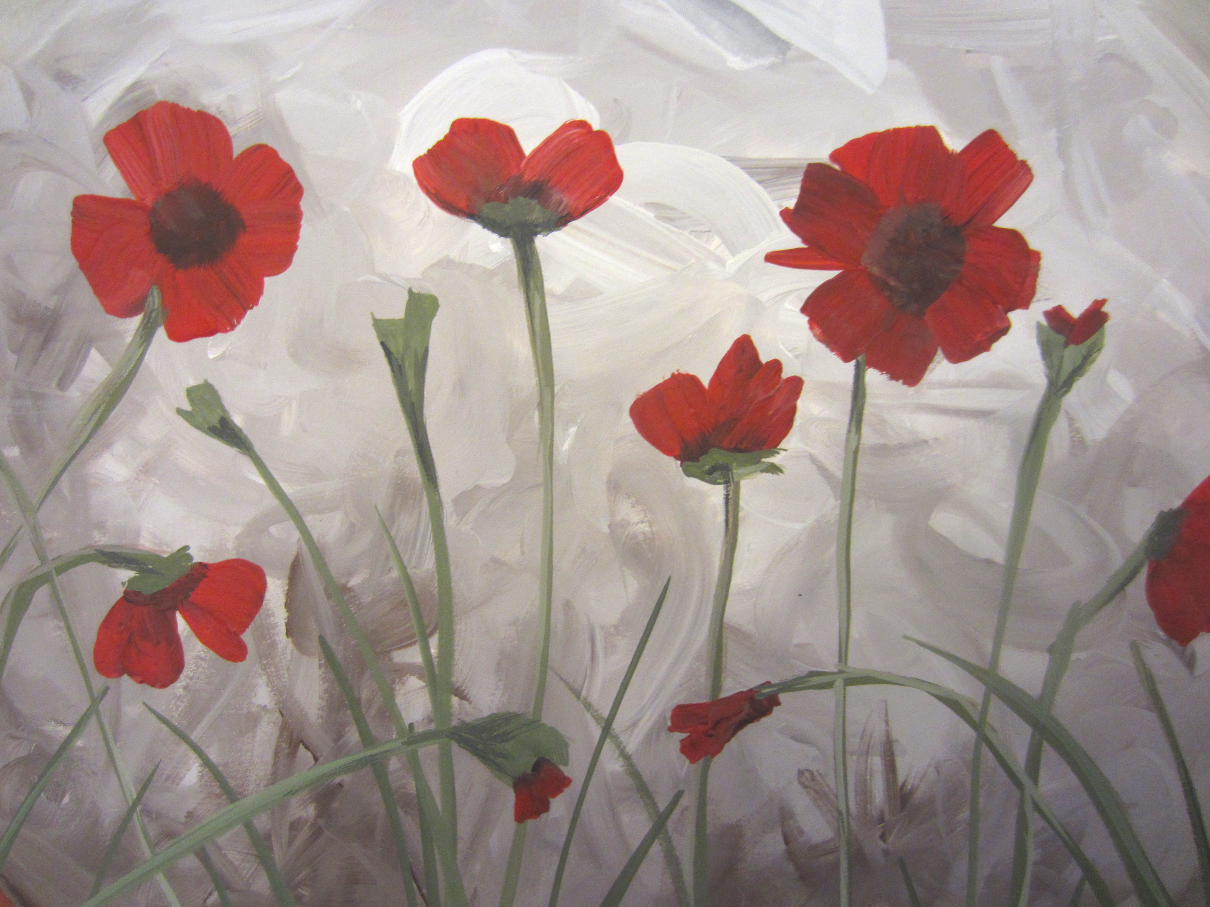 How to paint poppies part two the flowers busted button for Flower paintings on canvas