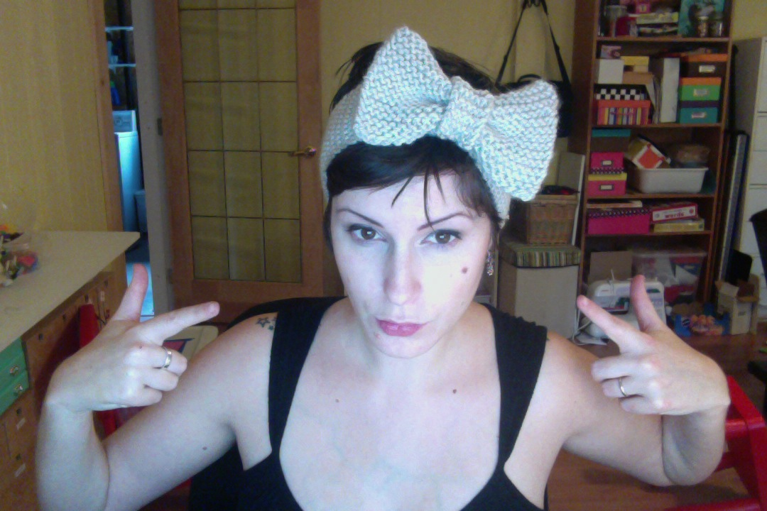 Knitted Bow Headband Busted Button